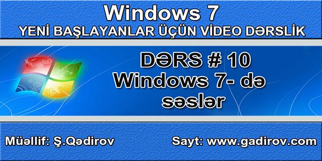 Windows 7 də səslər