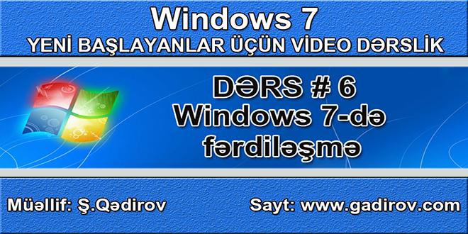 Windows 7 də fərdiləşmə