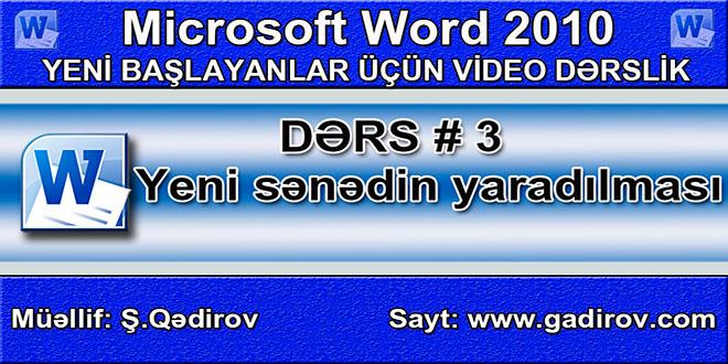Word 2010-da yeni sənədin yaradılması