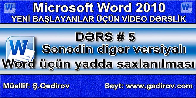 Sənədin digər versiyalı Word proqramı üçün yadda saxlanılması