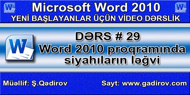 Word 2010 proqramında sadalanmış və nişanlanmış siyahıların ləğvi