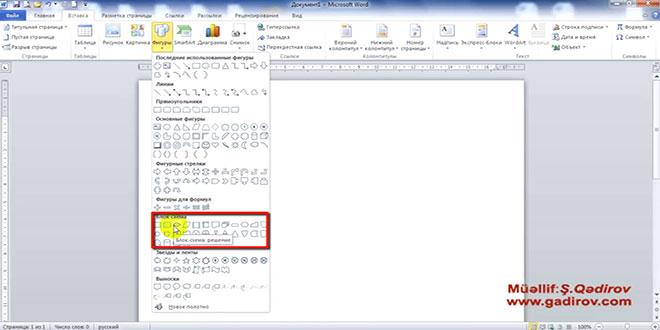 Microsoft Word 2010 proqramında fiqurların sənədə yerləşdirilməsi