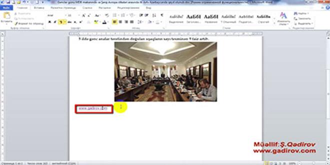 Microsoft Word 2010 proqramında hiperəlaqənin sənədə yerləşdirilməsi