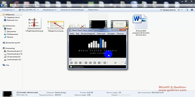 Windows 7 susmaya görə proqramın seçilməsi
