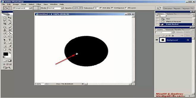 Elliptical Marquee Tool alətinin izahı