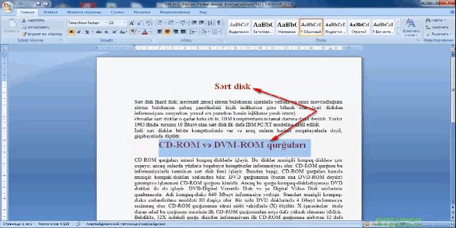 Word 2007 proqramında nümunəyə görə format