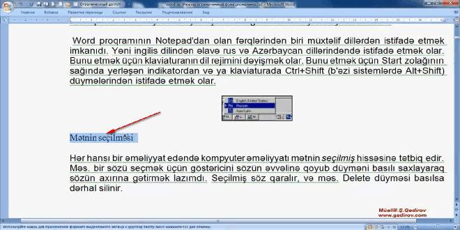 Word 2007 proqramında formatın surətinin çıxarılması