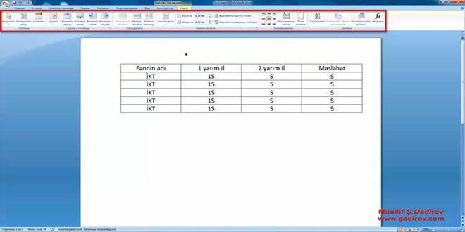 Word 2007 proqramında cədvəl elementinin seçilməsi