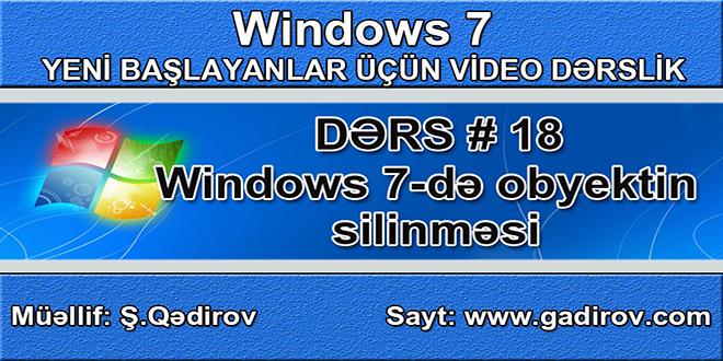 Windows 7 obyektin silinməsi