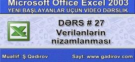 Excel 2003-də verilənlərin nizamlanması