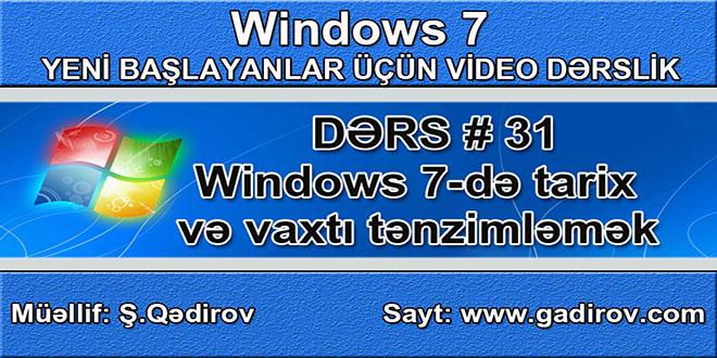 Windows 7-də tarix və vaxtı tənzimləmək