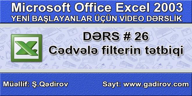 Excel 2003-də cədvələ filterin tətbiqi