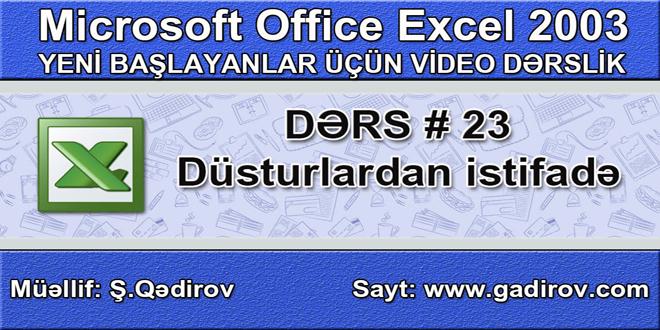 Excel 2003-də düsturlardan istifadə