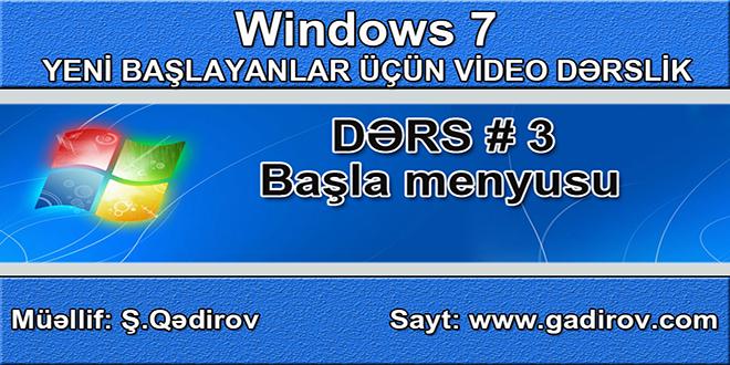 Windows 7-də başla menyusu