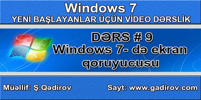 Windows 7 də ekran qoruyucusu