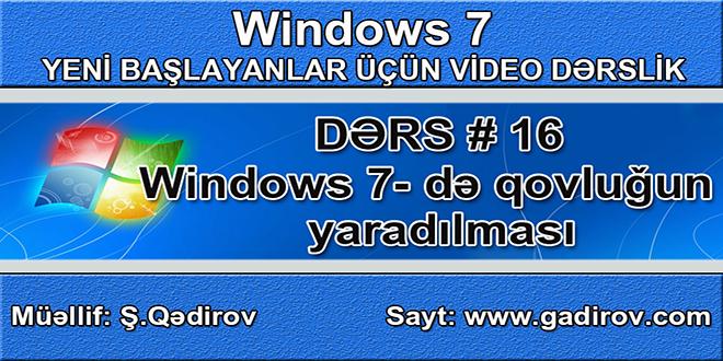 Windows 7-də qovluğun yaradılması