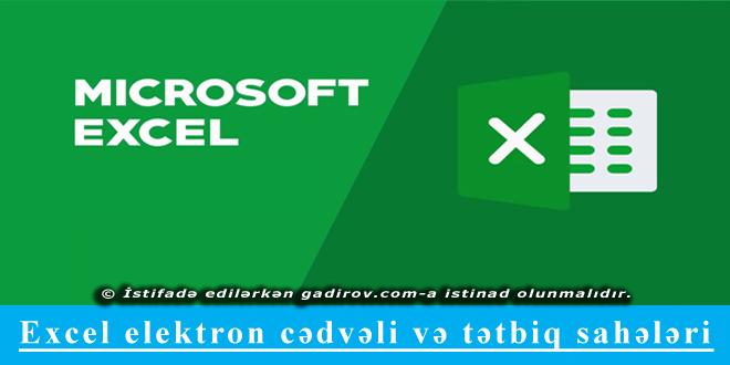 Excel elektron cədvəli və tətbiq sahələri