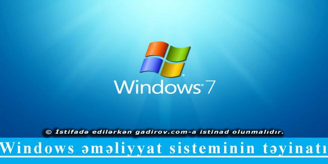 Windows əməliyyat sisteminin təyinatı
