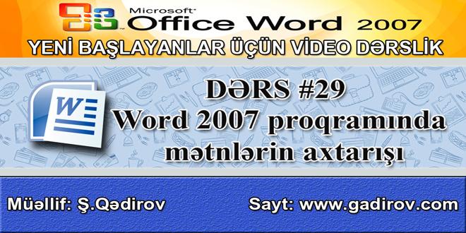 Word 2007-də mətnlərin axtarışı