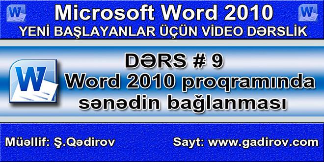Word 2010 proqramında sənədin bağlanması