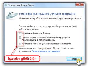 Yandex Disk proqramının kompüterə quraşdırılması