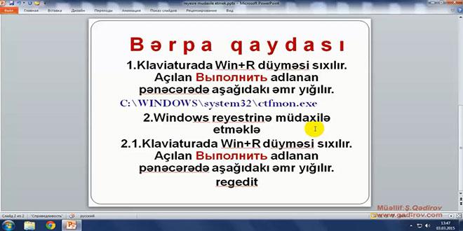 Windows 7-də dil panelinin bərpası