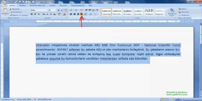 Word 2007 proqramında abzasların düzlənməsi