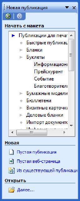 Publisher 2003 proqramının interfeysi