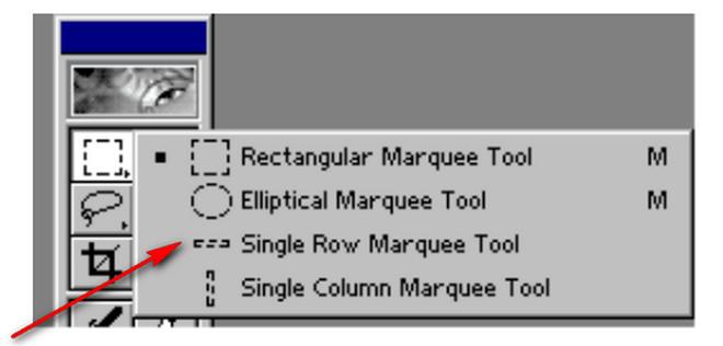 Adobe Photoshop-Single Row Marquee Tool aləti