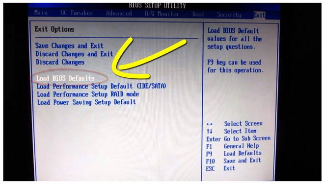 Load BIOS Defaults və Load Setup Defaults