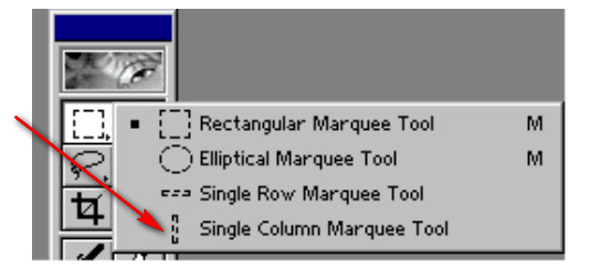 Adobe Photoshop-Single Column Marquee Tool aləti