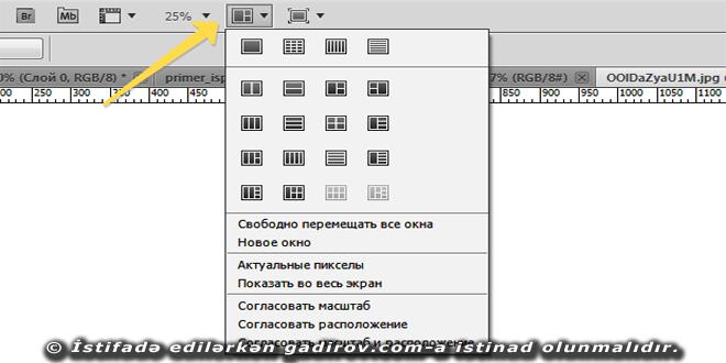 Adobe Photoshop-da pəncərə ilə iş