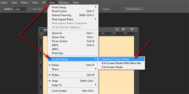 Adobe Photoshop-da ekran rejimlərinin dəyişdirilməsi