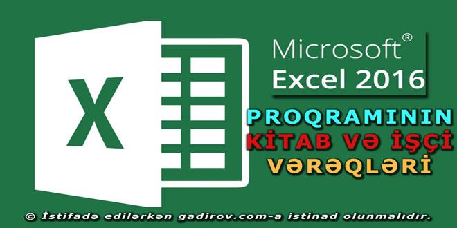 Excel 2016 kitab və işçi vərəqlər