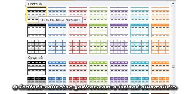 Excel 2016 usta formatının tətbiqi