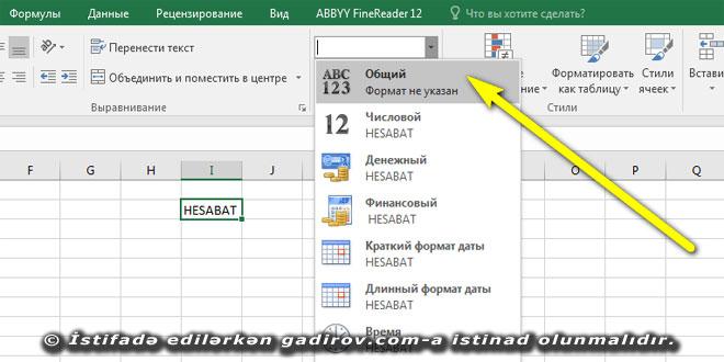 Excel 2016 proqramında verilənlərin formatı