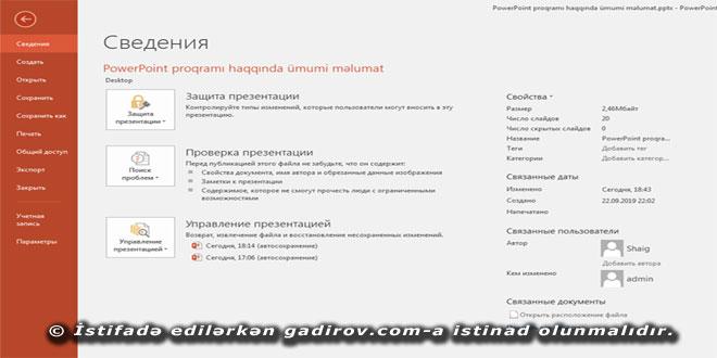 PowerPoint 2016 proqramının təyinatı və interfeysi